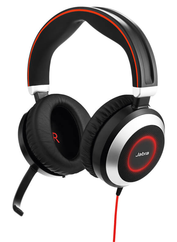 jabra evolve 80 headset with active noise cancellation