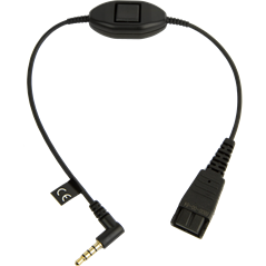 Jabra Quick Disconnect (QD) to 3.5 mm Jack Cord, with Push-To-Talk